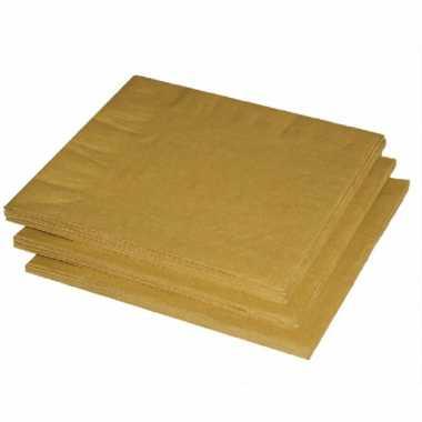 100x stuks gouden kleuren thema servetten 33 x 33 cm kerstversiering