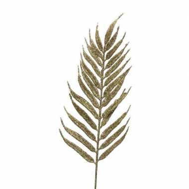 12x gouden glitter bladeren/bladtakken kerstdecoratie 29 cm kerstversiering
