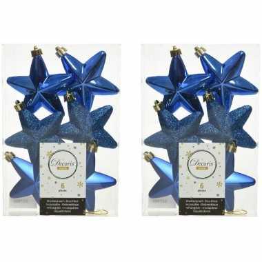 12x kobalt blauwe kunststof sterren kerstballen/ kersthangers 7 cm kerstversiering