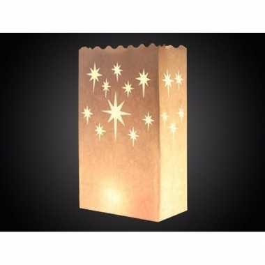 15x candle bags met sterren print 26 cm kerstversiering