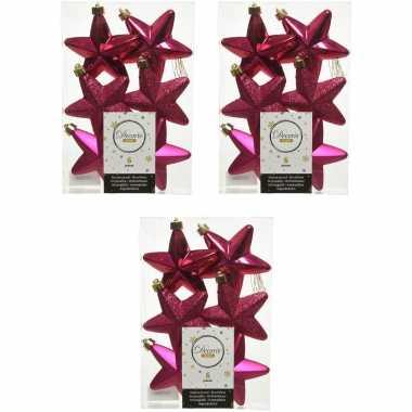 18x bessen roze kunststof sterren kerstballen/ kersthangers 7 cm kerstversiering