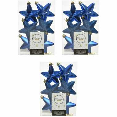 18x kobalt blauwe kunststof sterren kerstballen/ kersthangers 7 cm kerstversiering