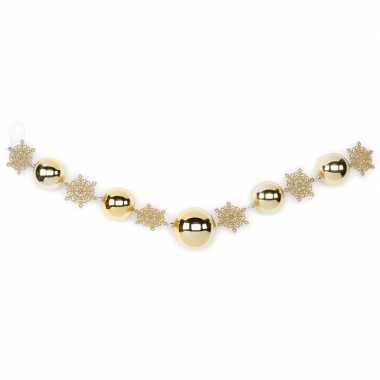 1x gouden kerst raamslingers met ballen en sneeuwvlokken 116 cm kerstversiering