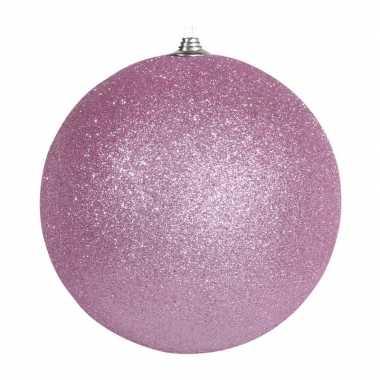 1x roze grote decoratie kerstballen met glitter kunststof 25 cm kerstversiering