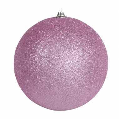 1x roze grote kerstballen met glitter kunststof 13 5 cm kerstversiering