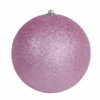 1x roze grote kerstballen met glitter kunststof 18 cm kerstversiering