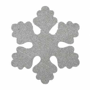 1x zilveren decoratie sneeuwvlok van foam 40 cm kerstversiering