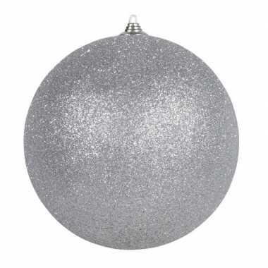 1x zilveren grote kerstballen met glitter kunststof 13,5 cm kerstversiering