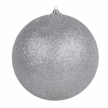 1x zilveren grote kerstballen met glitter kunststof 18 cm kerstversiering