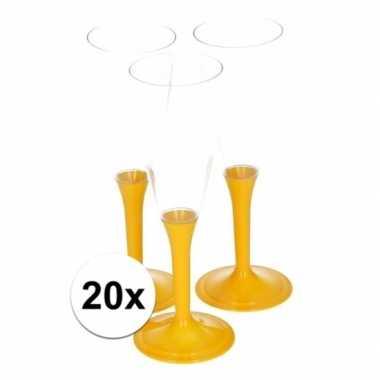 20x gele drankglazen kerstversiering