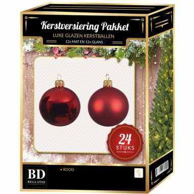 24 stuks mix glazen kerstballen pakket kerst rood 6 en 8 cm kerstversiering