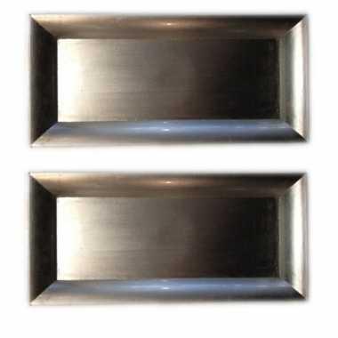 2x kaarsplateaus zilver 36 cm rechthoekig kerstversiering