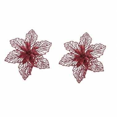 2x kerstbloem versiering rode glitter kerstster/poinsettia op clip 17