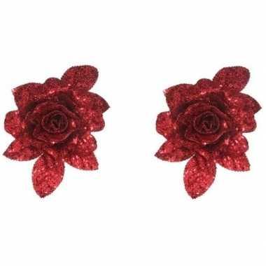 2x kerstbloemen versiering rode glitter roos op clip 15 cm kerstversiering