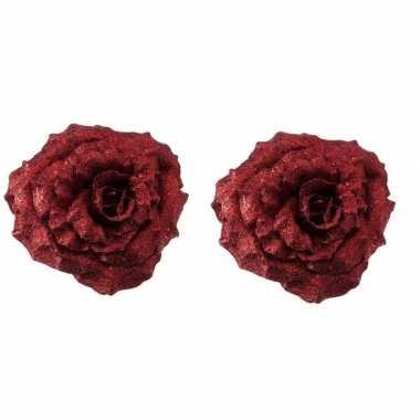 2x kerstbloemen versiering rode glitter roos op clip 18 cm kerstversi