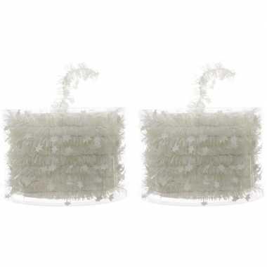 2x kerstboom folie slingers met ster wit 700 cm kerstversiering
