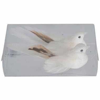 2x kerstboomversiering glitter witte vogeltjes op clip 11 cm kerstversiering