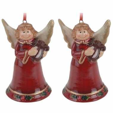 2x kerstornamenten kerstengel hanger 8 cm kerstversiering