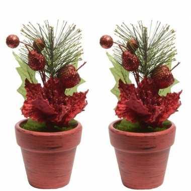 2x kerststerren rood fluweel in potje 16 cm kerstversiering