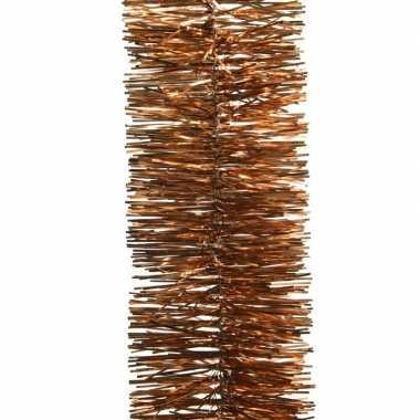 2x koper bruine kerstversiering folie slinger 270 cm