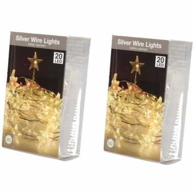 2x sterren lichtsnoer op batterij 20 warm witte lampjes kerstversiering