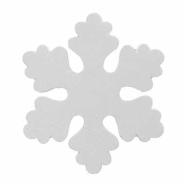 2x witte decoratie sneeuwvlokken van foam 25 cm kerstversiering