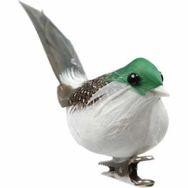 3 decoratie vogeltjes groen kerstversiering