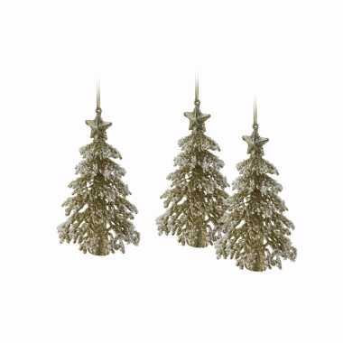 3x gouden glitter kerstboom hanger 16 cm kerstversiering