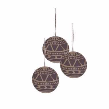 3x houten kerstboom versiering schijf hout met bruin printje 8 cm kerstversiering