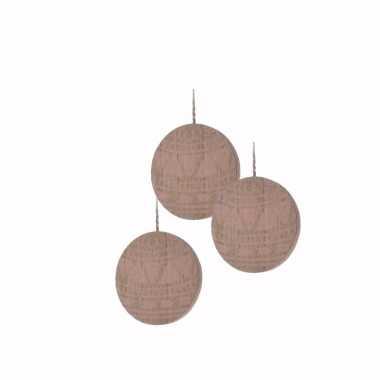 3x houten kerstboom versiering schijf hout met roze printje 8 cm kers