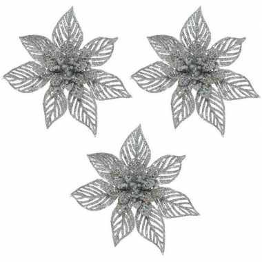 3x kerstbloem versiering beige glitter kerstster/poinsettia op clip 23 x 5 cm kerstversiering