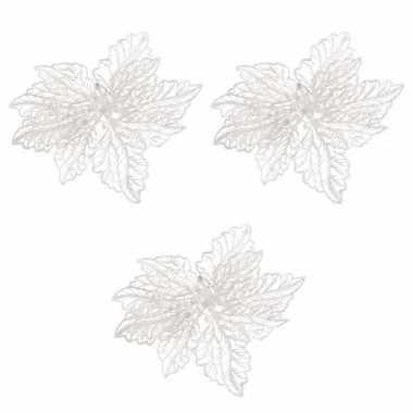 3x kerstbloem versiering witte glitter kerstster/poinsettia op clip 15 cm kerstversiering