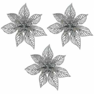 3x kerstbloem versiering zilveren glitter kerstster/poinsettia op clip 23 x 10 cm kerstversiering