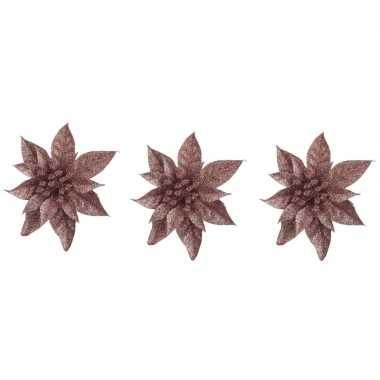 3x kerstbloemen versiering donker beige glitter kerstster/poinsettia op clip 15 cm kerstversiering