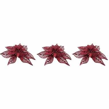 3x kerstbloemen versiering rode glitter kerstster/poinsettia op clip