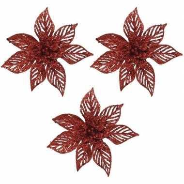 3x kerstbloemen versiering rode glitter kerstster/poinsettia op clip 23 x 5 cm kerstversiering