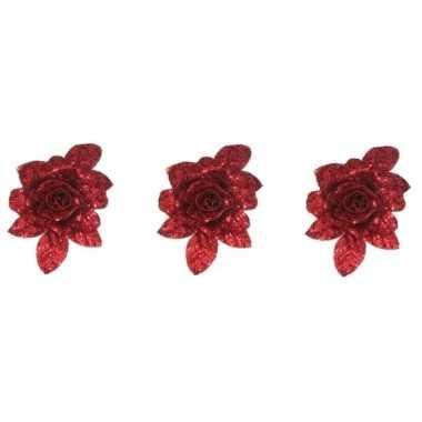 3x kerstbloemen versiering rode glitter roos op clip 15 cm kerstversiering