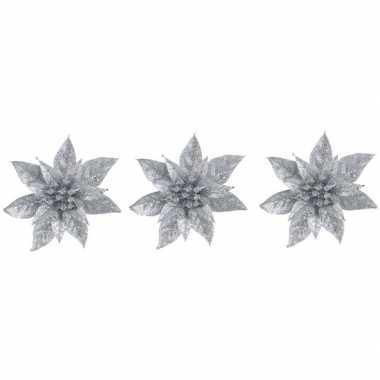 3x kerstbloemen versiering zilveren glitter kerstster/poinsettia op c