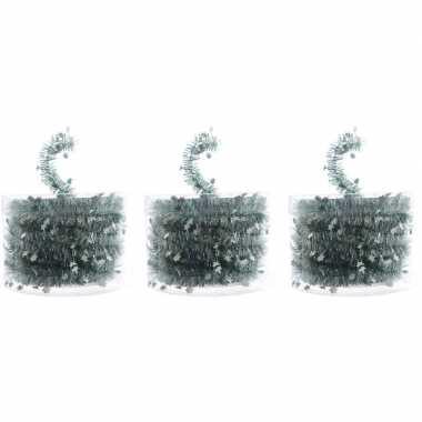 3x kerstboom folie slingers met ster mint groen 700 cm kerstversierin