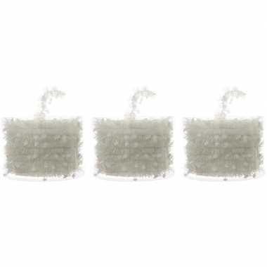 3x kerstboom folie slingers met ster wit 700 cm kerstversiering