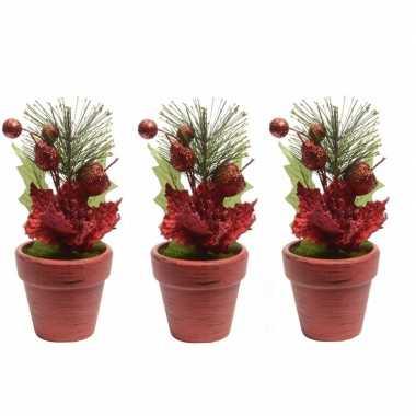 3x kerststerren rood fluweel in potje 16 cm kerstversiering