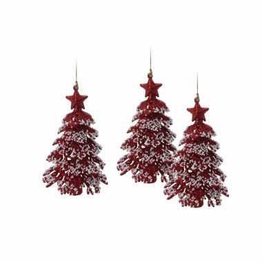 3x rode glitter kerstboom hanger 16 cm kerstversiering
