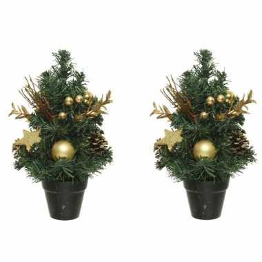 3x stuks mini kunst kerstbomen/kunstbomen met gouden versiering 30 cm kerstversiering