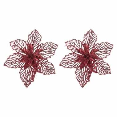 4x kerstbloem versiering rode glitter kerstster/poinsettia op clip 17 cm kerstversiering