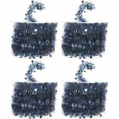 4x kerstboom folie slingers met ster blauw 700 cm kerstversiering