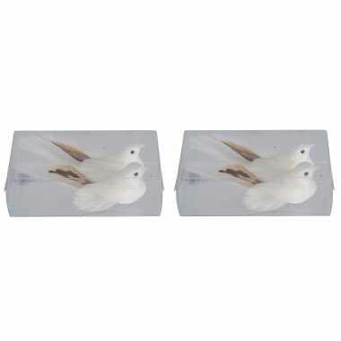 4x kerstboomversiering glitter witte vogeltjes op clip 11 cm kerstversiering