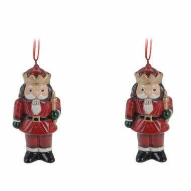 4x kerstornamenten notenkraker hanger 8 cm kerstversiering