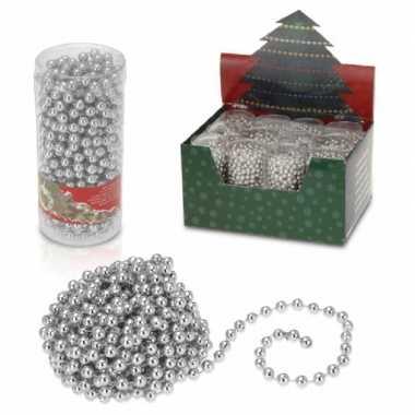 4x stuks kerstboomversiering zilveren kralenslingers kerstslingers 7.5 m kerstversiering