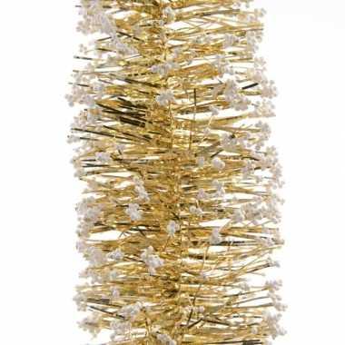 5x kerstboom folie slingers met sneeuw goud 200 cm kerstversiering
