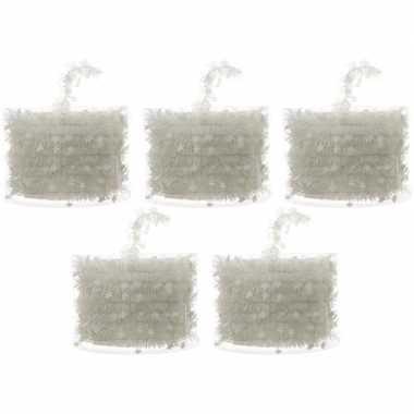 5x kerstboom folie slingers met ster wit 700 cm kerstversiering